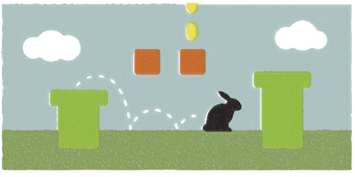 Bonk bonk bonk, ding ding, bloop, bloop. The sounds of my rabbit finding his way through the obstacles of Super Mario, circa 1992 played on the original Game Boy, were beginning to become an incessant irritant. Reliving my early teen years through my rabbit's new obsession was proving to be trying at best. Oh the hours spent in front of that screen.