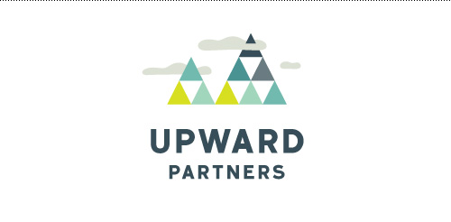 Geometric and data based mountain range inspired logo for Upward Partners.