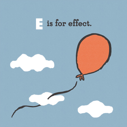 E is for Effect: a balloon floating upwards through the clouds.