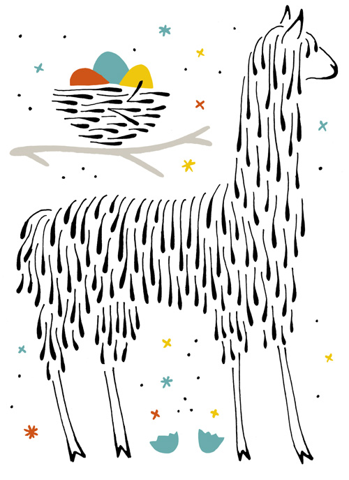 A llama and a nest and a broken egg, drawn in flowing teardrop style.