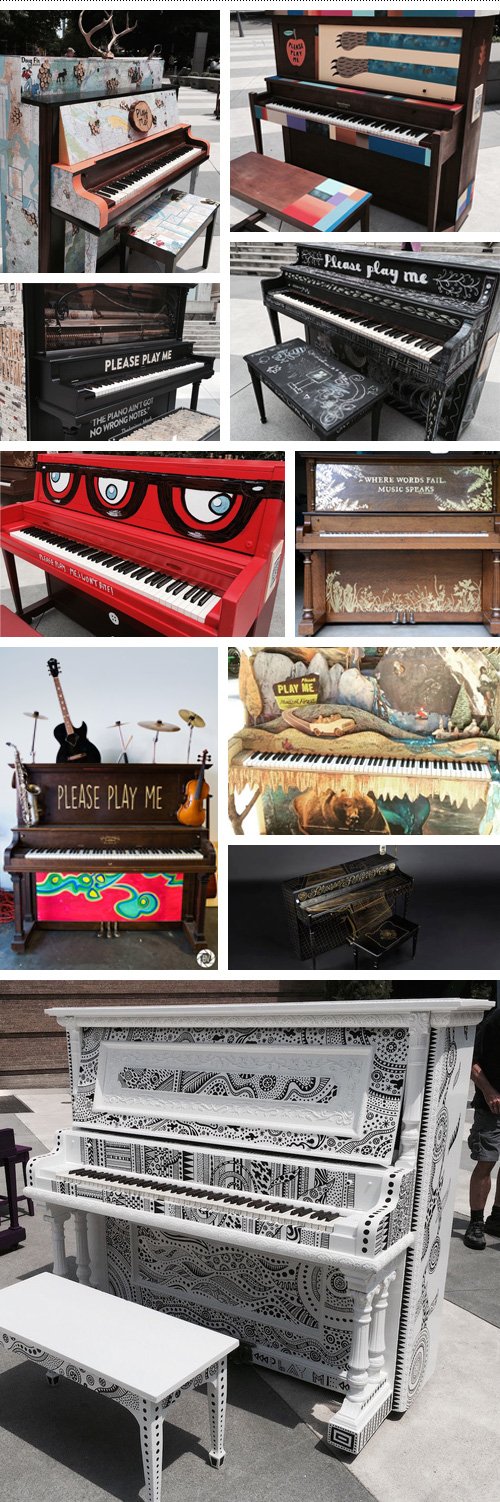 Pianos from all the participants.