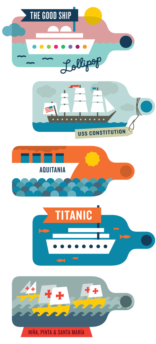 Ships in a bottle: good ship lollipop, USS Constitution, Aquitania, the Titanic, and the Niña, Pinta & Santa Maria.