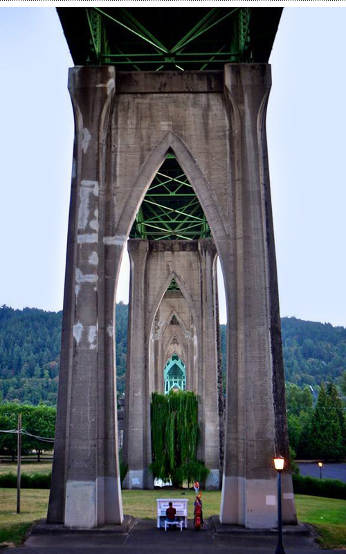 Scarlatti hanging out under the St. Johns Bridge in North Portland at Cathedral Park.