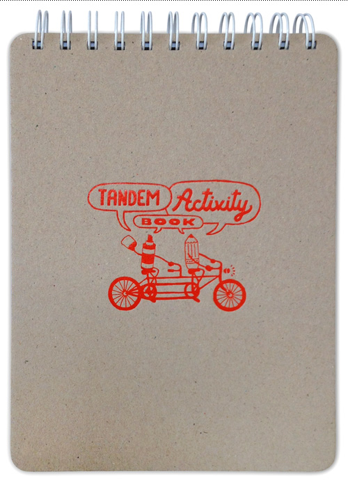 Tandem Activity Book - one color embossed chipboard front.