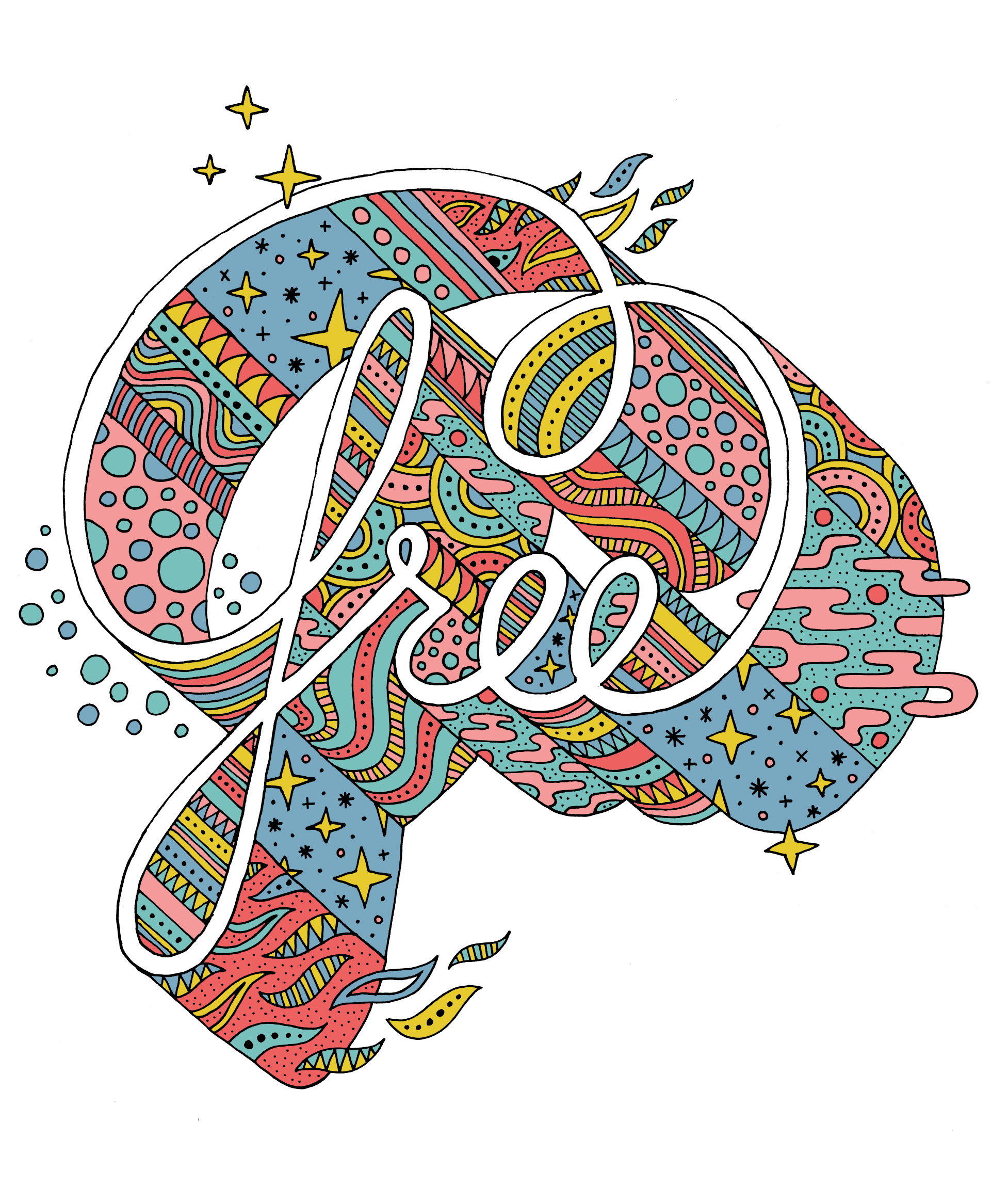 Hand drawn typography of the word free, filled with patterns and textures including stripes, dots, clouds, diamond universes, funky flames and swirling stripes.