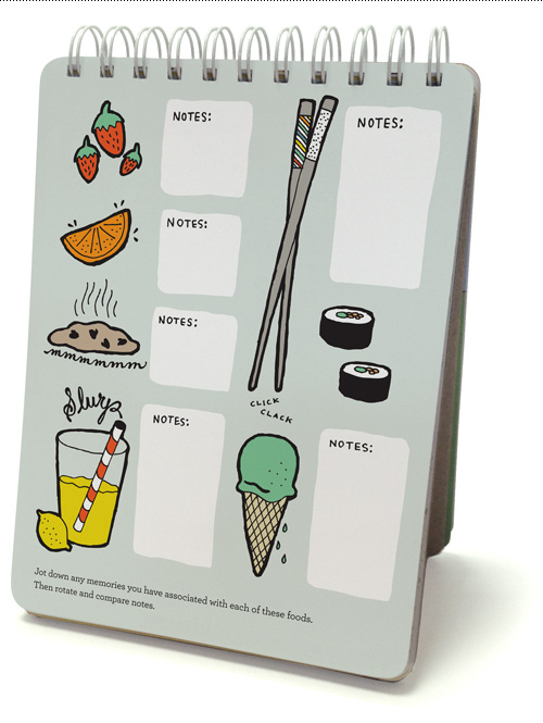 Jot down any memories you have associated with each of these foods. Then rotate and compare notes.