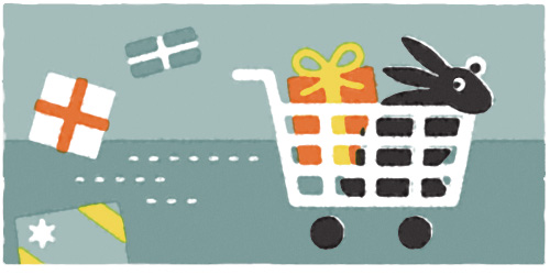 Tis the season again for retail rushing and gift giving. To get through it as painlessly as possible, my pioneer rabbit and I strategized our plan of attack - a shopping card with four functional wheels, a methodical path through the store, and a clear chain of command between driver and cart passenger. We were ready, set, go!