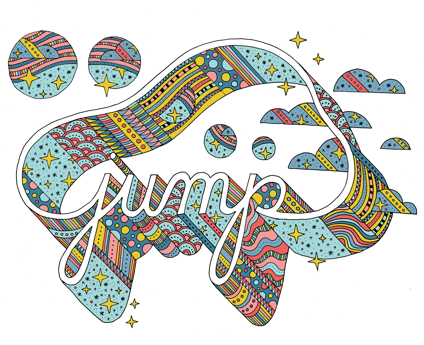 Jump typography with 3D treatment and a rainbow palette of texture and patterns.