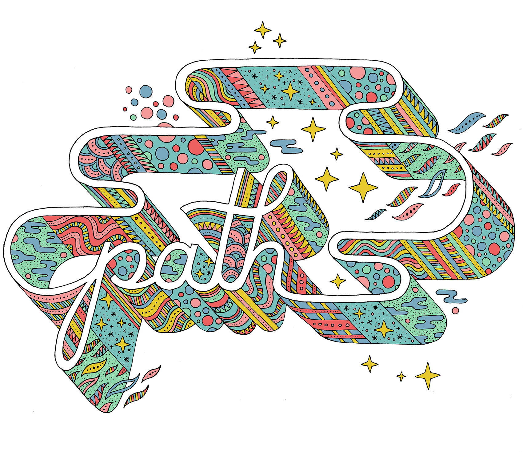 Path typography: filled with patterns and textures in a plethora of summer colors, plus a few sparkly bursts.