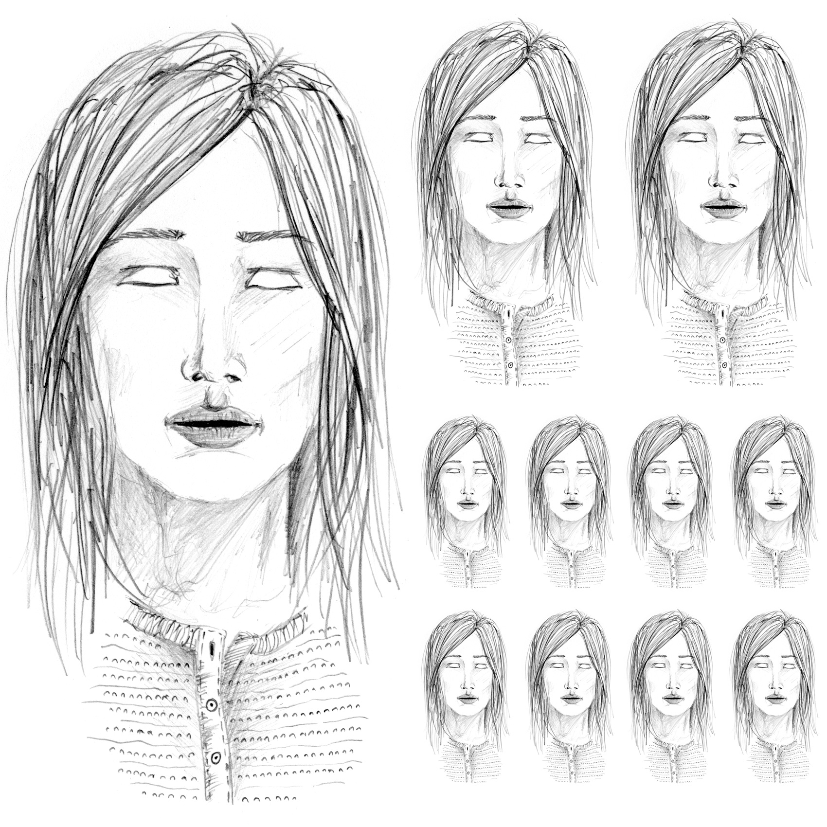 pencil sketch without eyes, in school portrait layout format