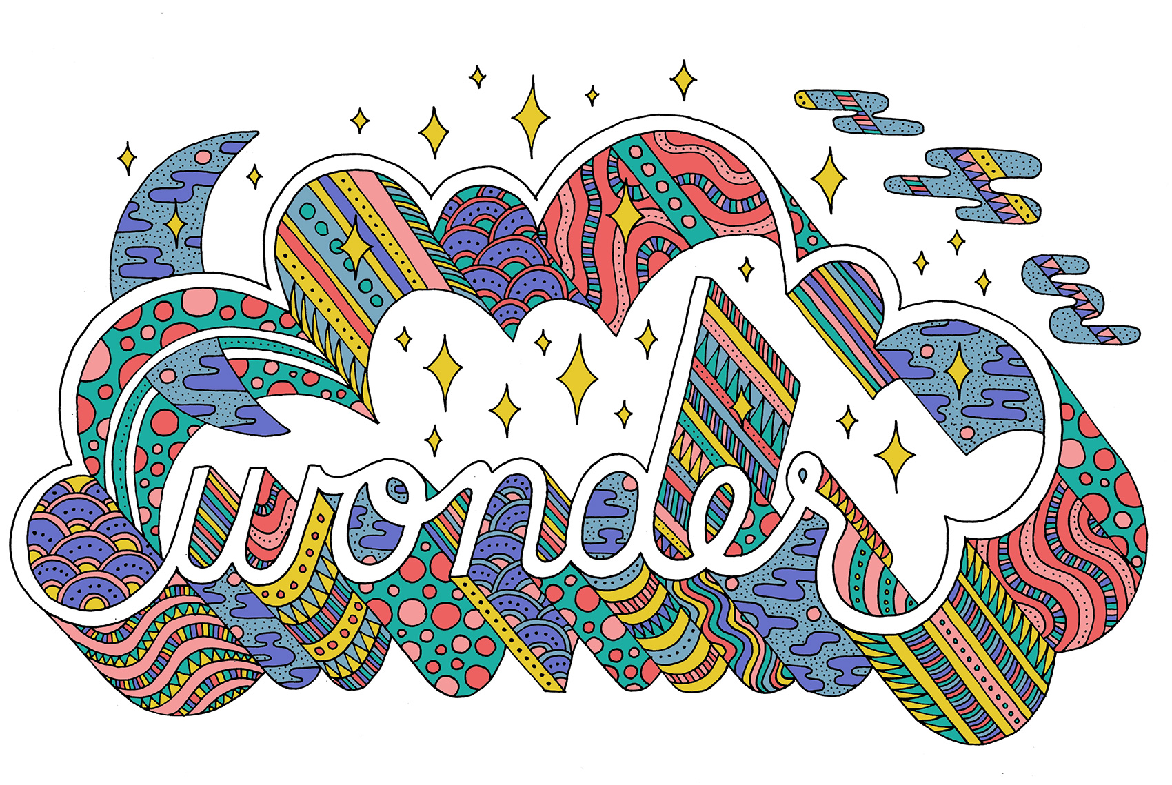 Wonder typography: night sky scene in 3D type filled with patterns and textures.