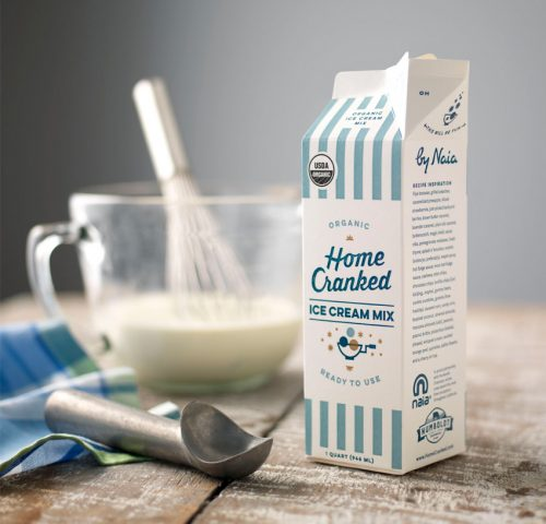 Packaging design for Home Cranked ice cream mix.