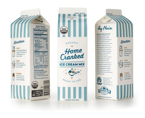 Carton packaging design for Home Cranked ice cream mix, showing all three side of the carton.