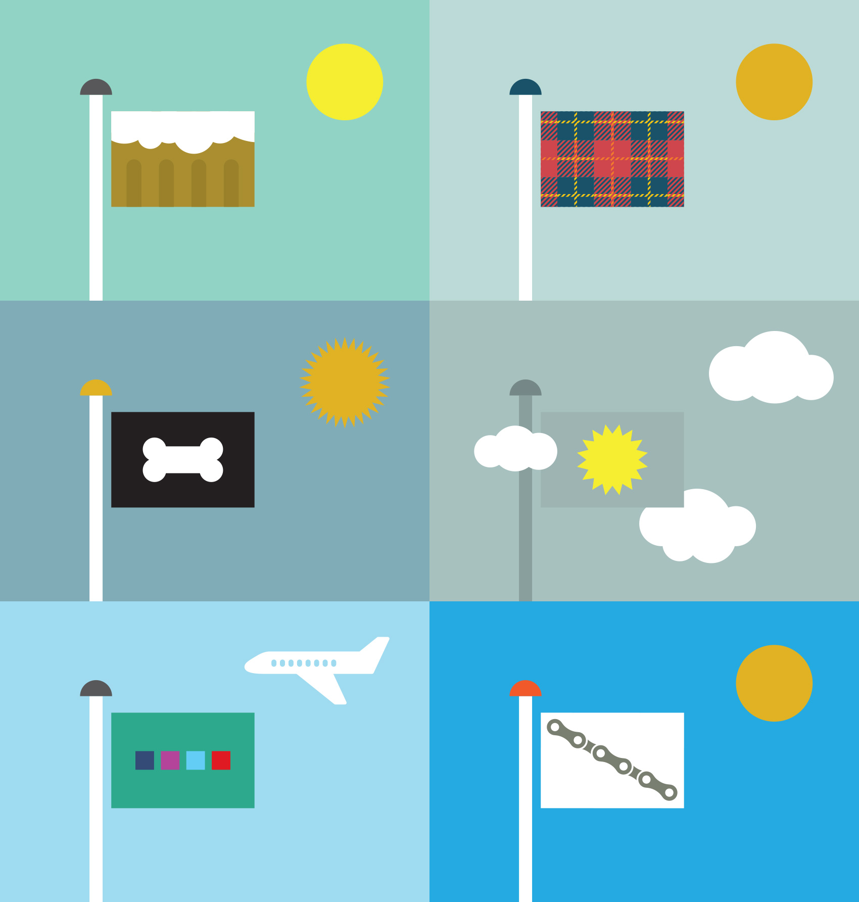 various flags of Portland, Oregon