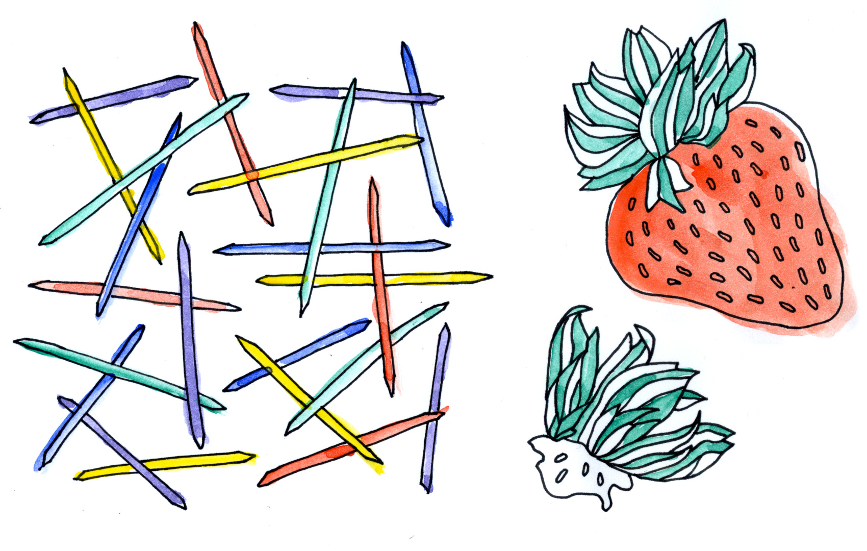 Black pen and watercolor sketch of toothpicks and strawberries.