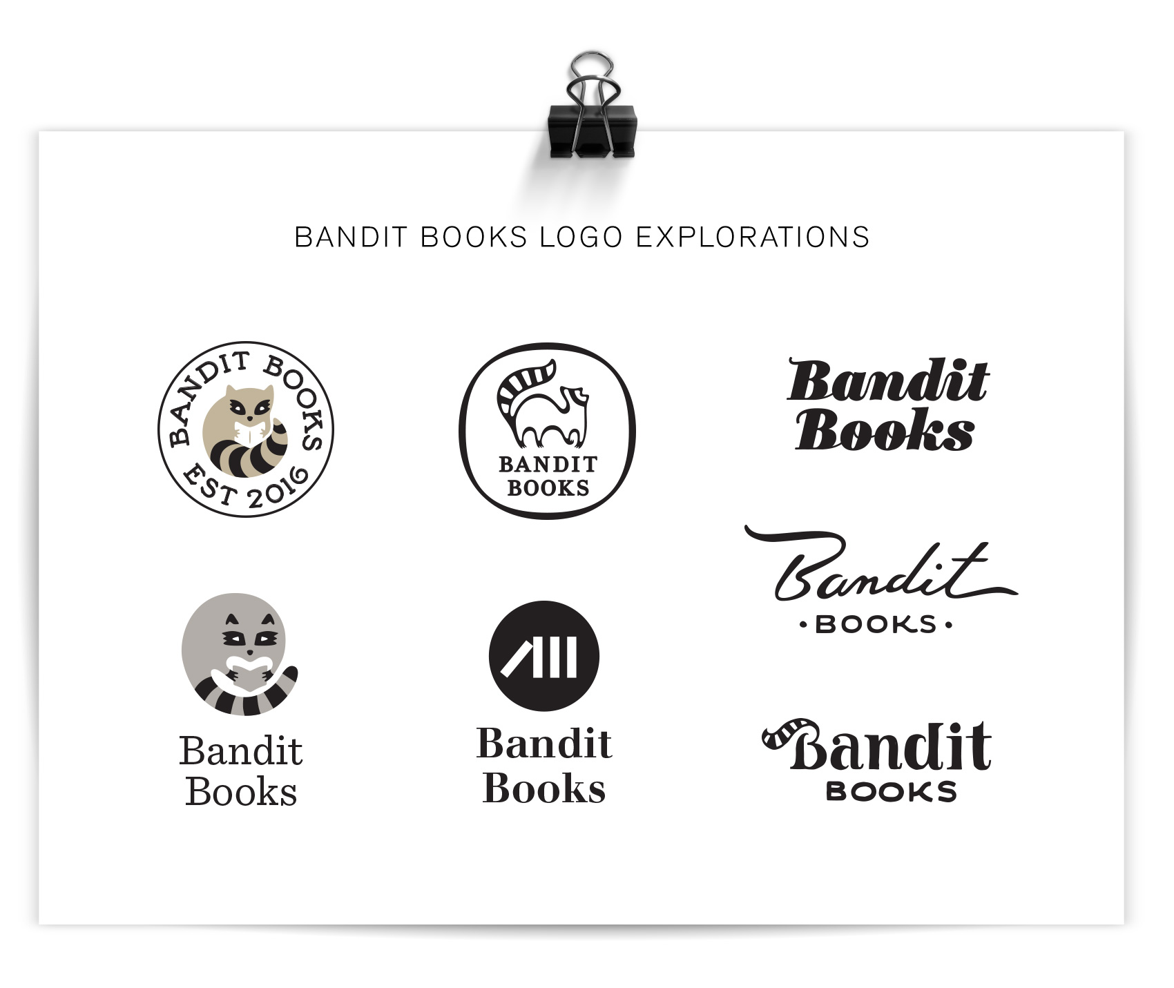 lots of raccoon centric logo explorations for Bandit Books