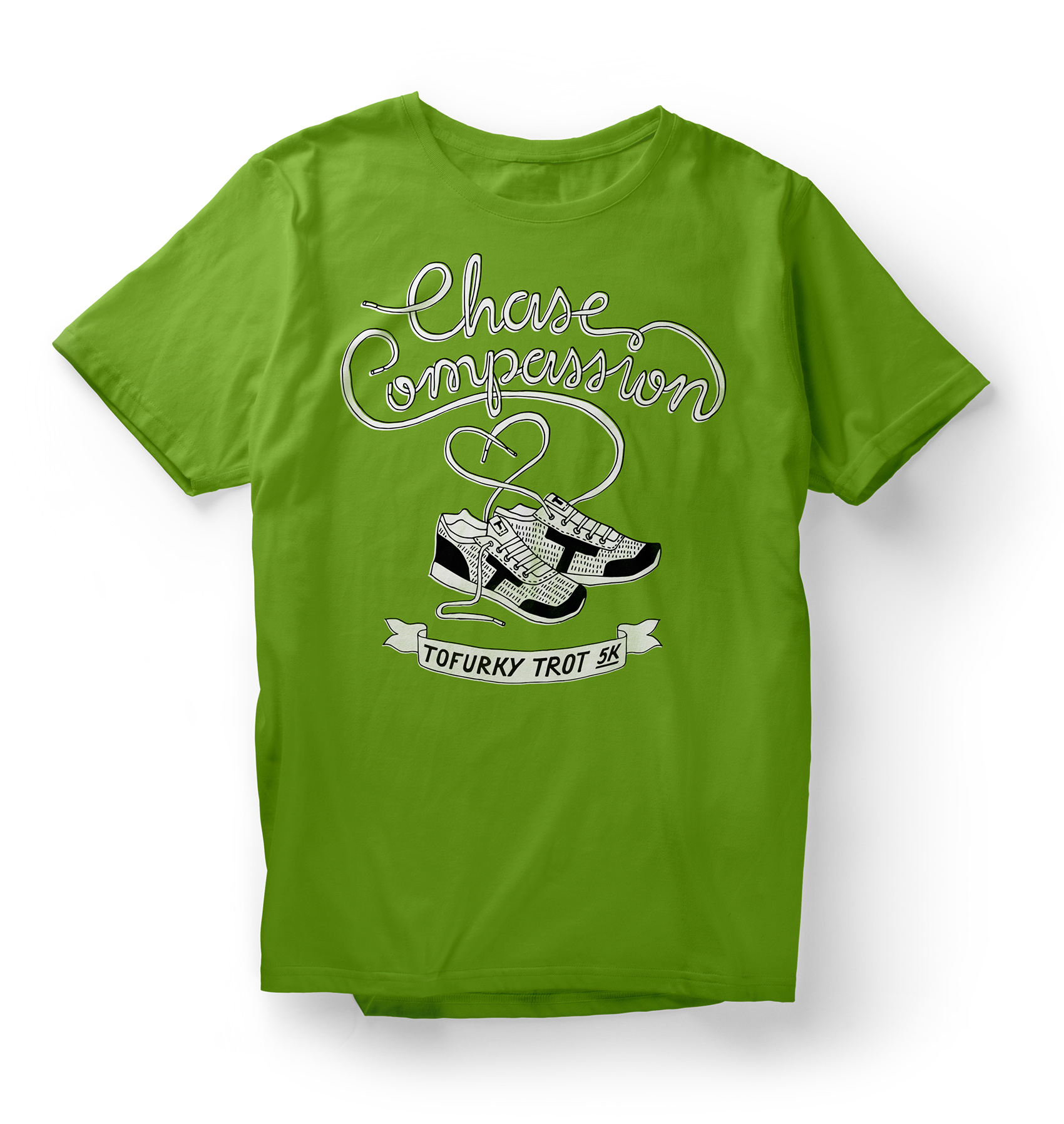 "tofurky trot race t-shirt with illustrated shoes and shoelace lettering for ""chase compassion"""