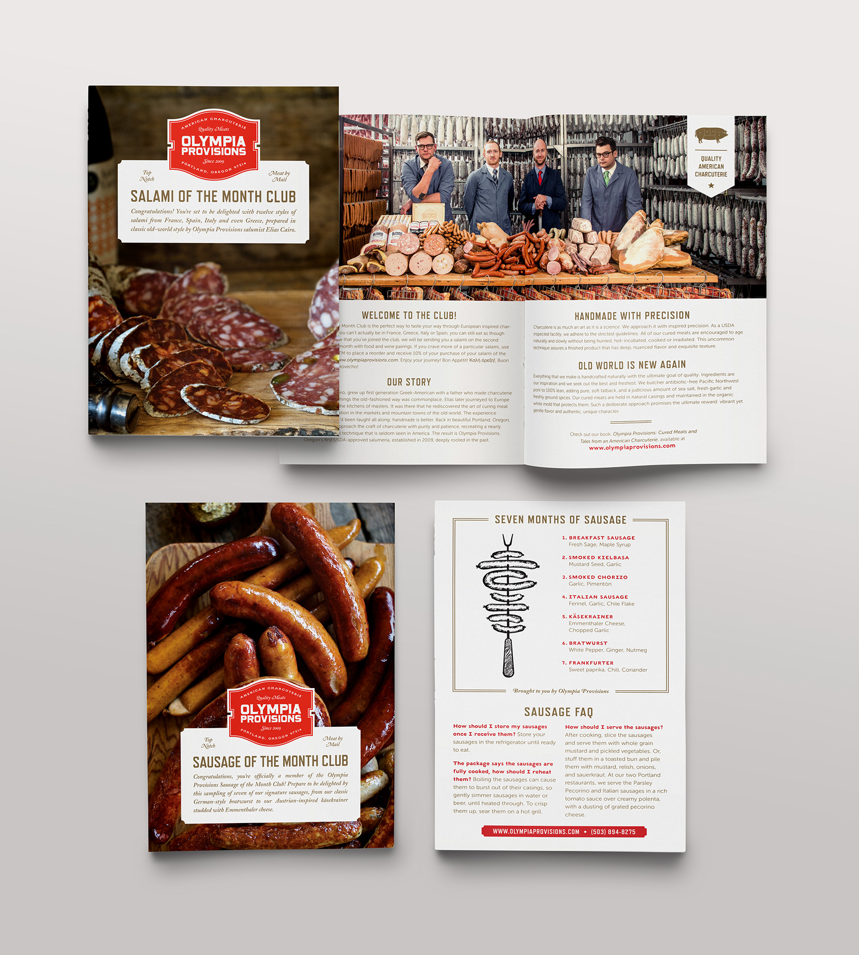 collateral inserts for Olympia Provisions' club of the months - salami of the month, sausage of the month, pate of the month and pickle of the month