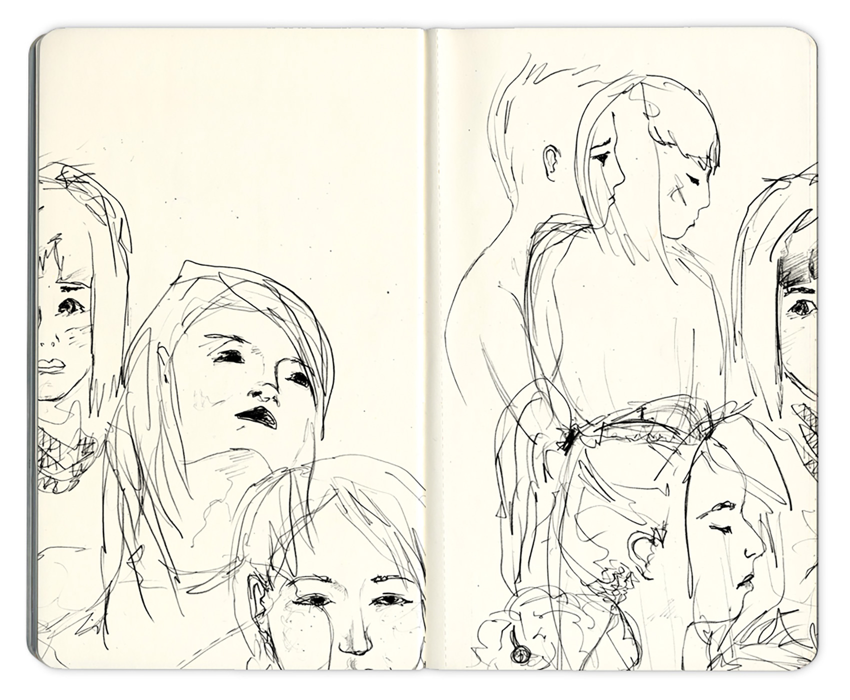 rough pencil portrait sketches