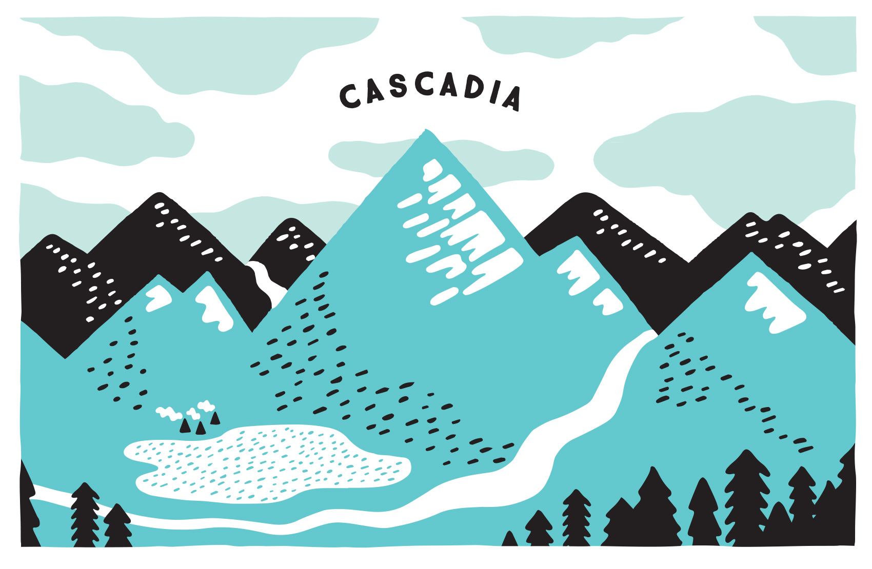 illustrated portrait of Cascadia with mountain ranges, river, lake and teepees