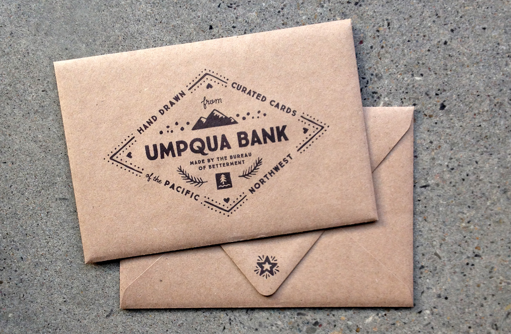 umpqua bank postcard envelope design
