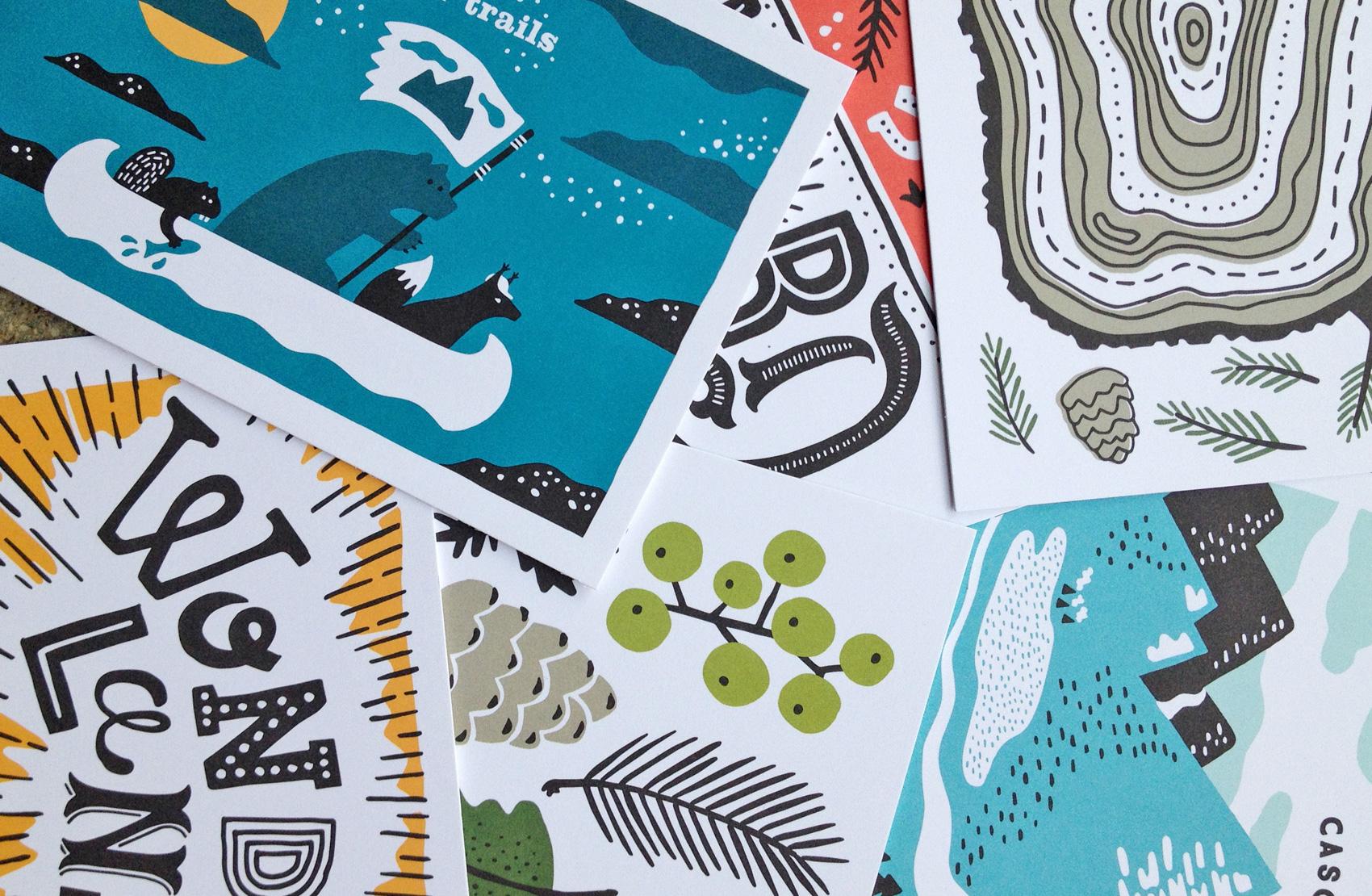 series of postcards for Umpqua Bank