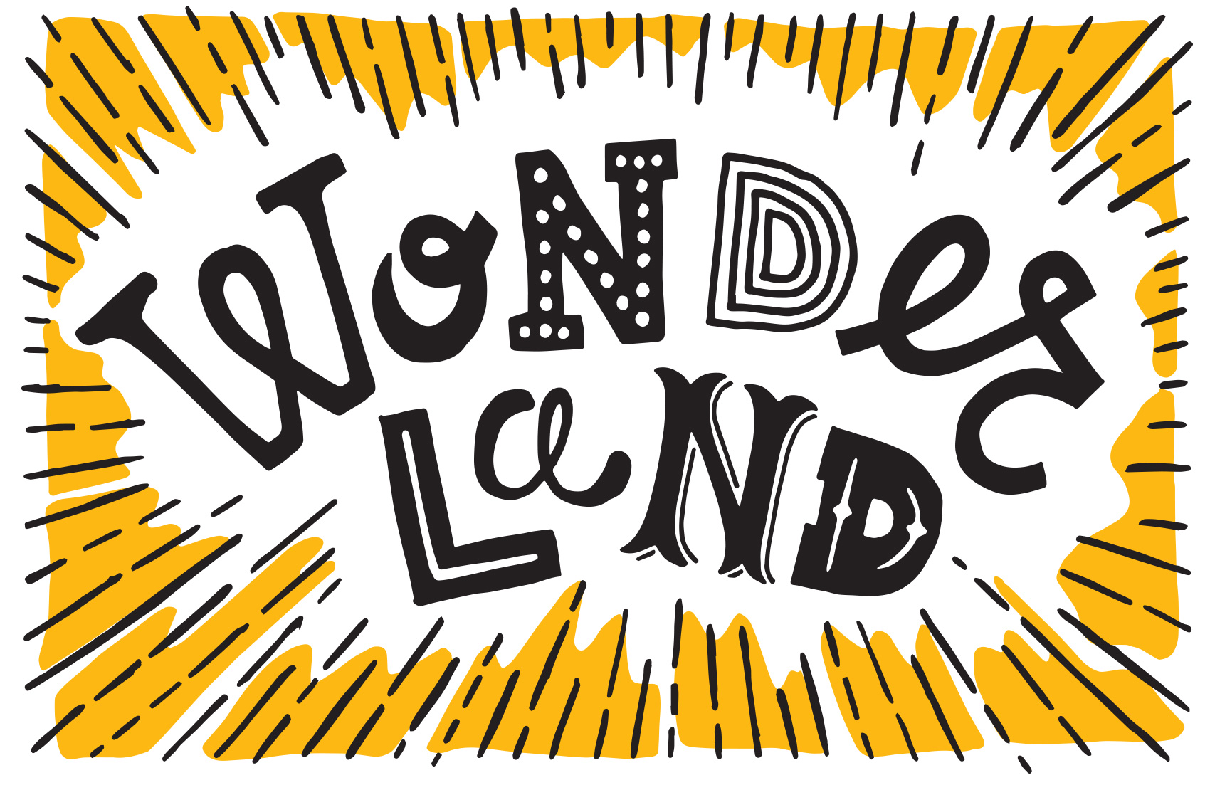 hand lettering for Umpqua postcard series - Wonderland