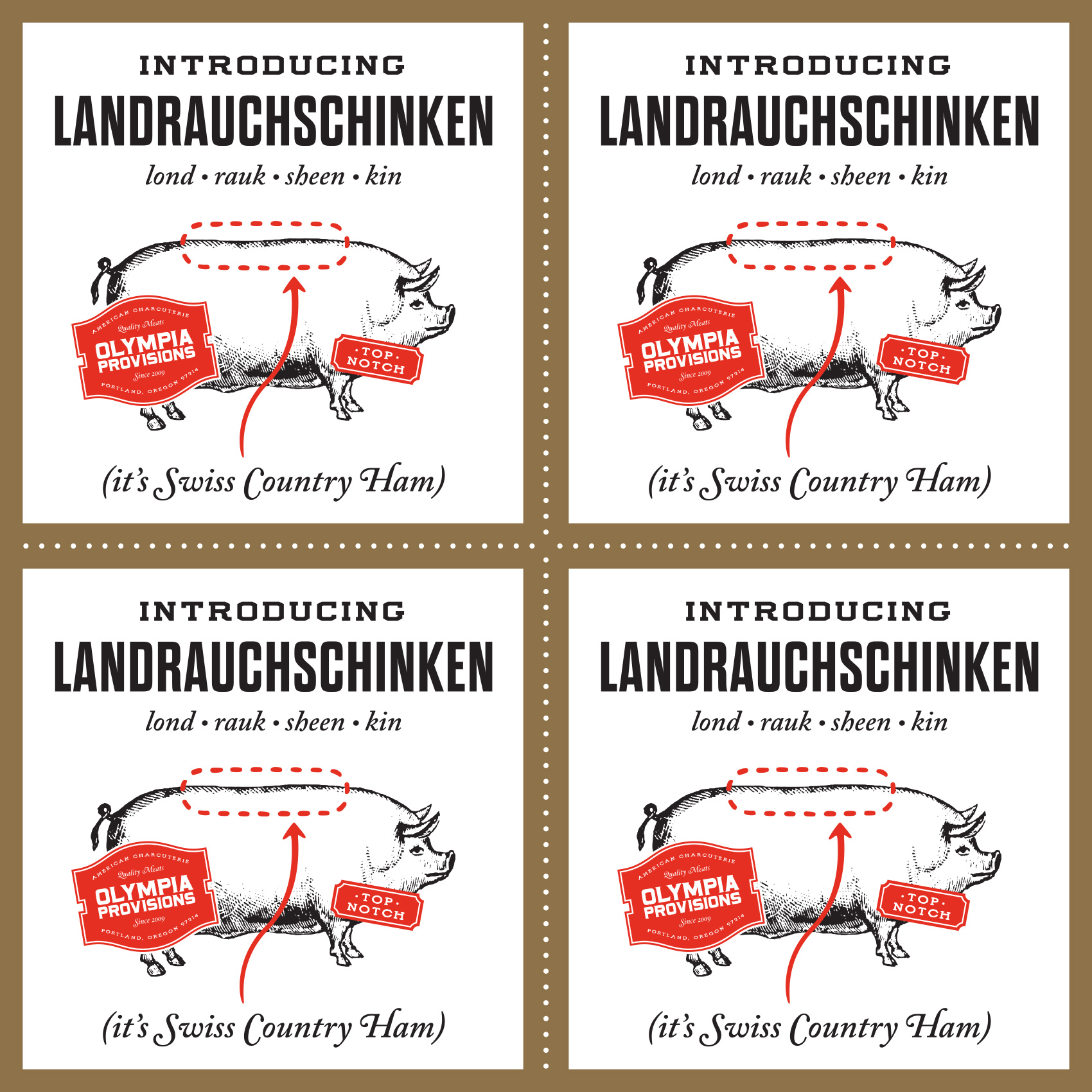 Vintage etched illustration of a pig for Olympia Provisions Landrauchschinken launch. It's Swiss Country Ham!