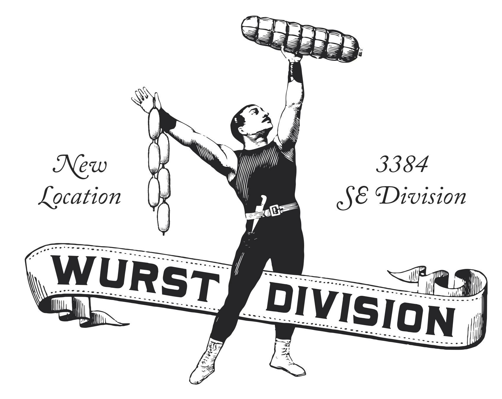 Strongman sausage lifter announcing the new OP Wurst Division location in SE Portland