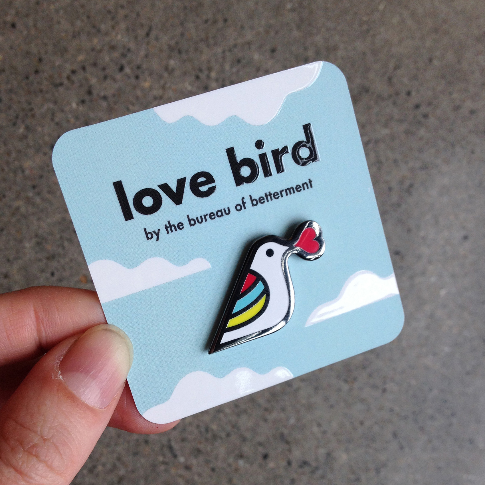 love bird pin with cloudy spot glass Moo Cards background backer