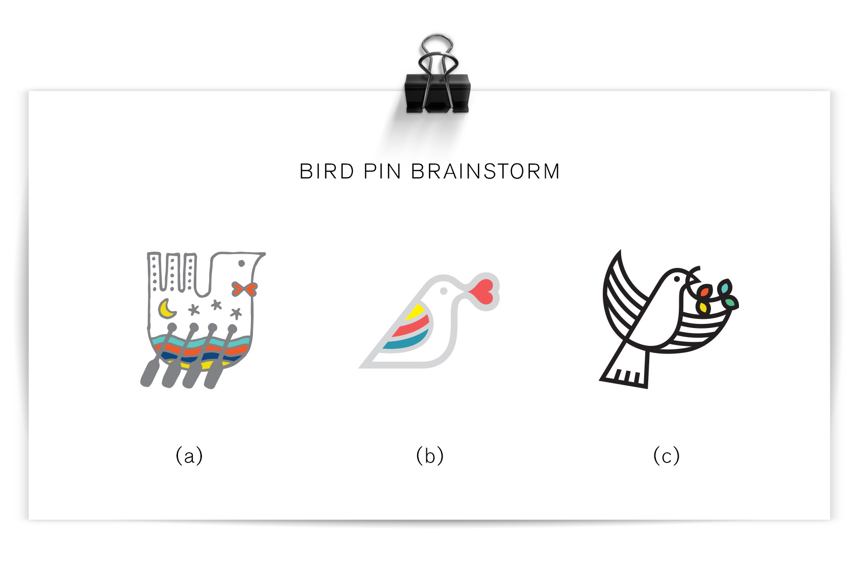 preliminary bird pin brainstorms