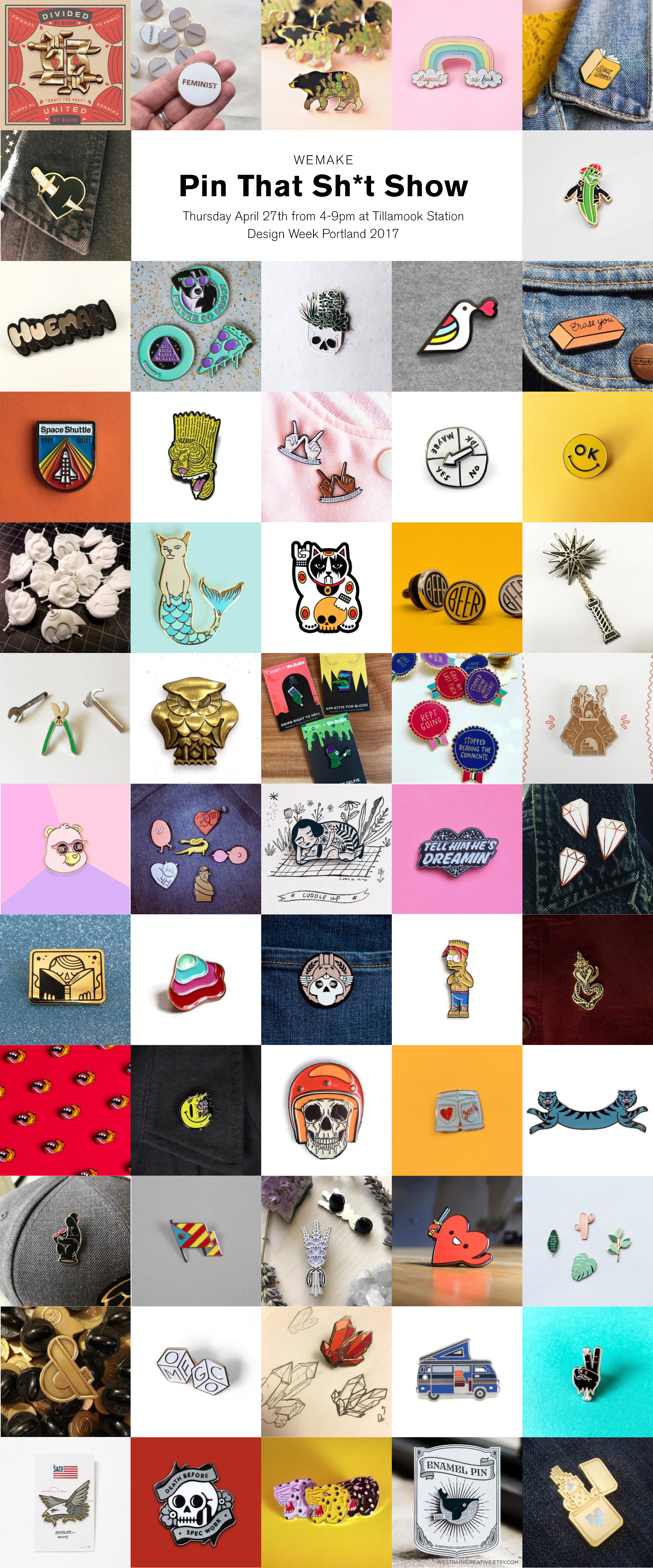 participant pins of Pin That Sh*t art show