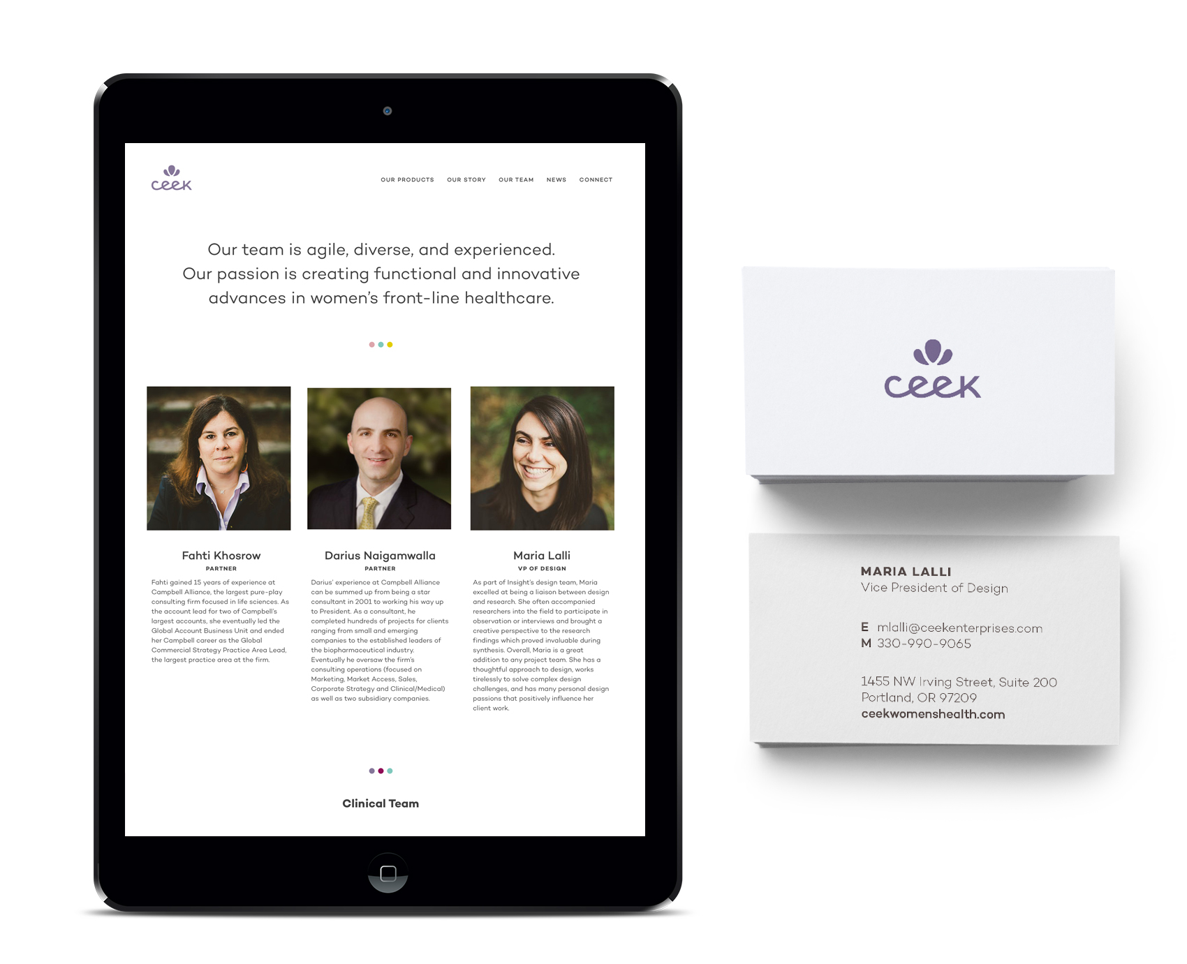 Ceek Women's Healthcare about page and business card.