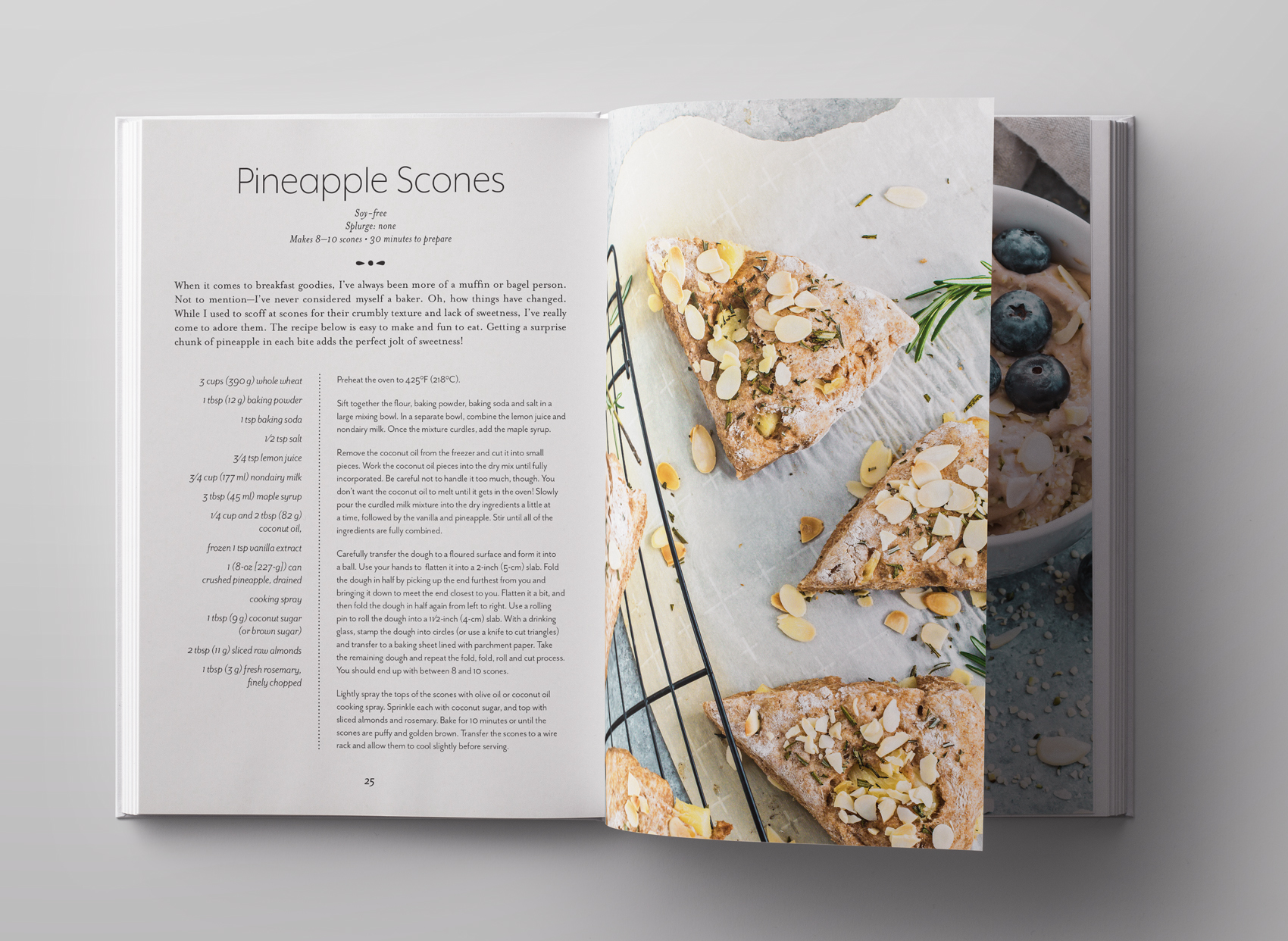 vegan pineapple scone recipe spread for Frugal Vegan cook book