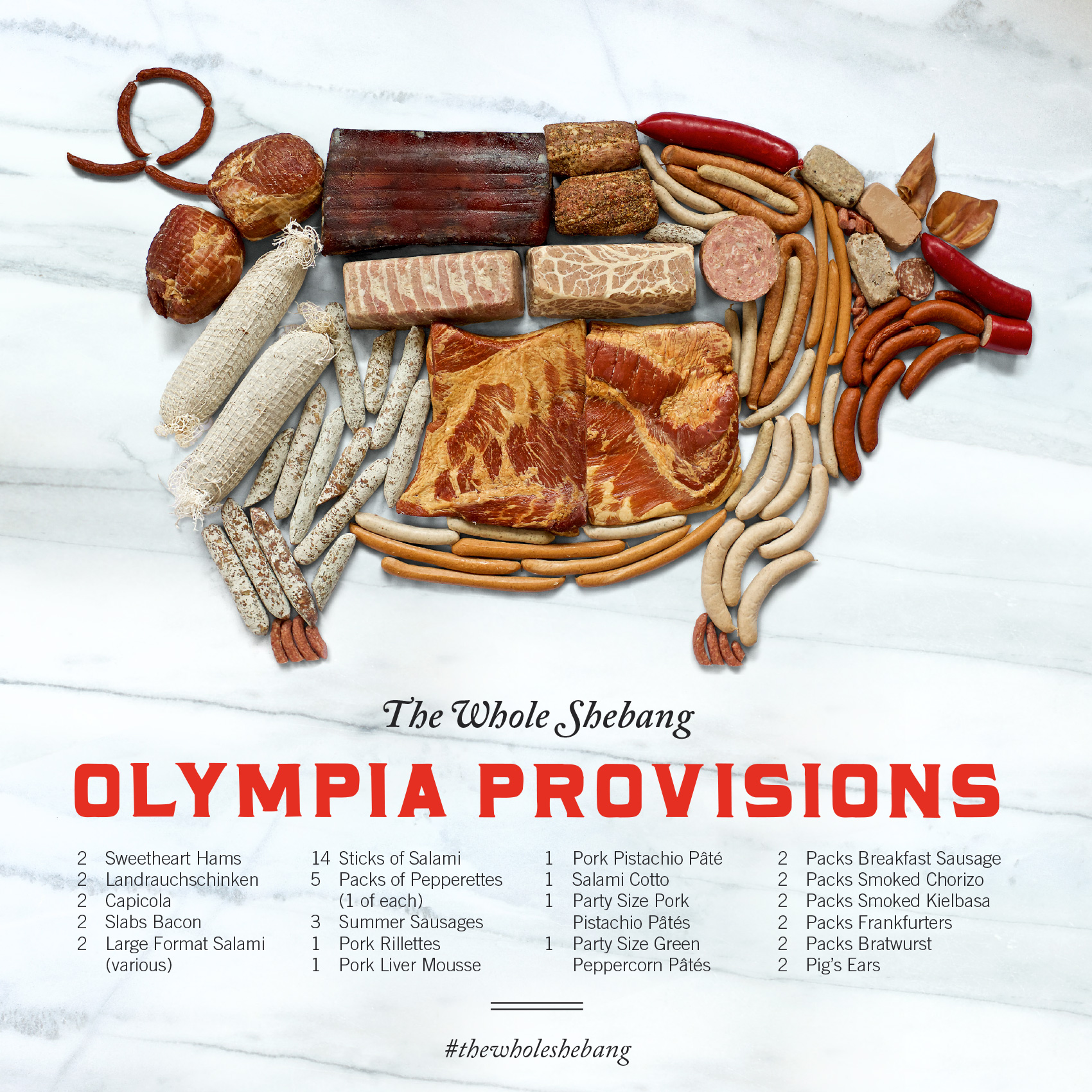 olympia provisions charcuterie selection in the shape of a pig - the whole shebang!