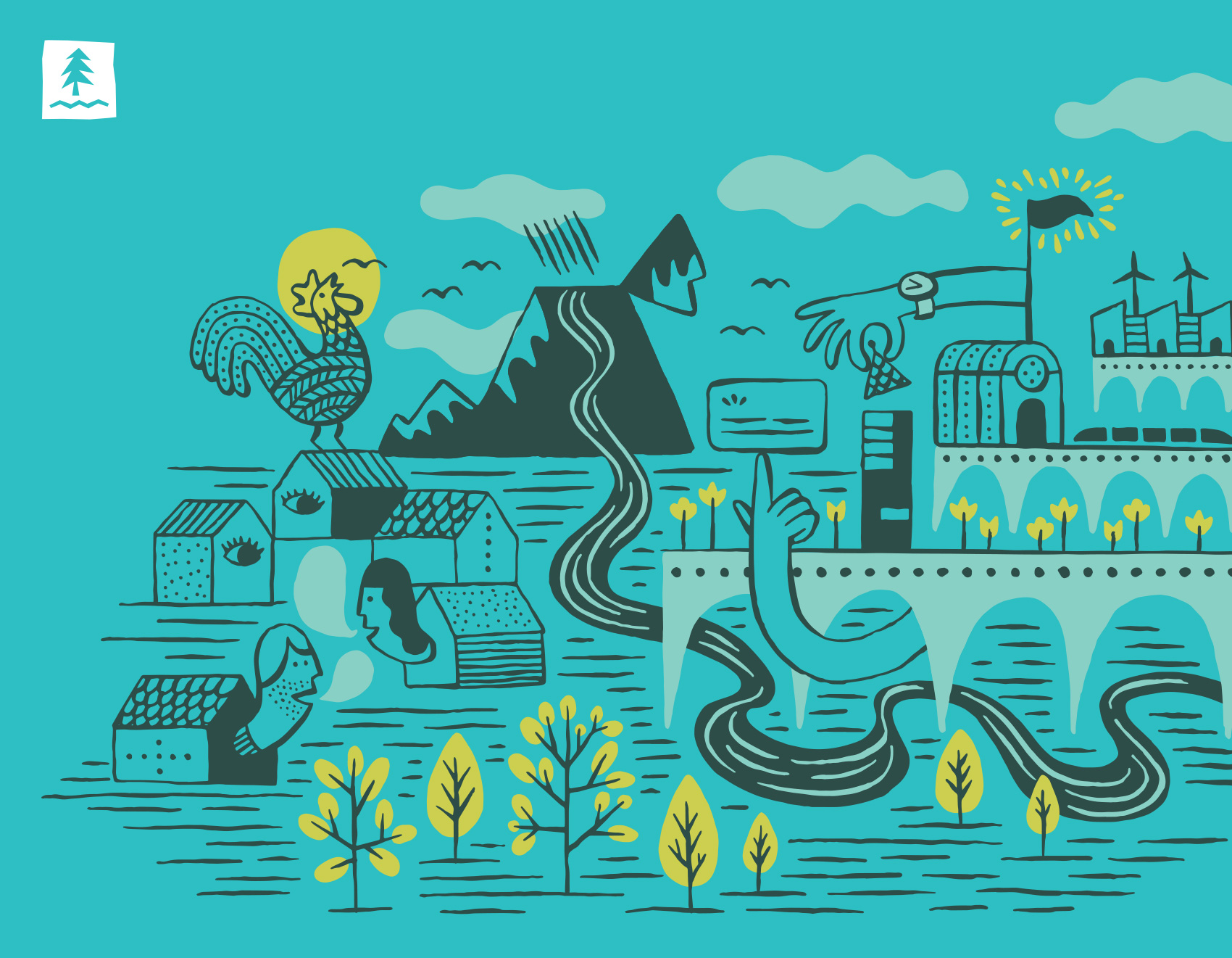 editorial illustration test for Umpqua Bank combining a community of personal, business, landscape, nature & city