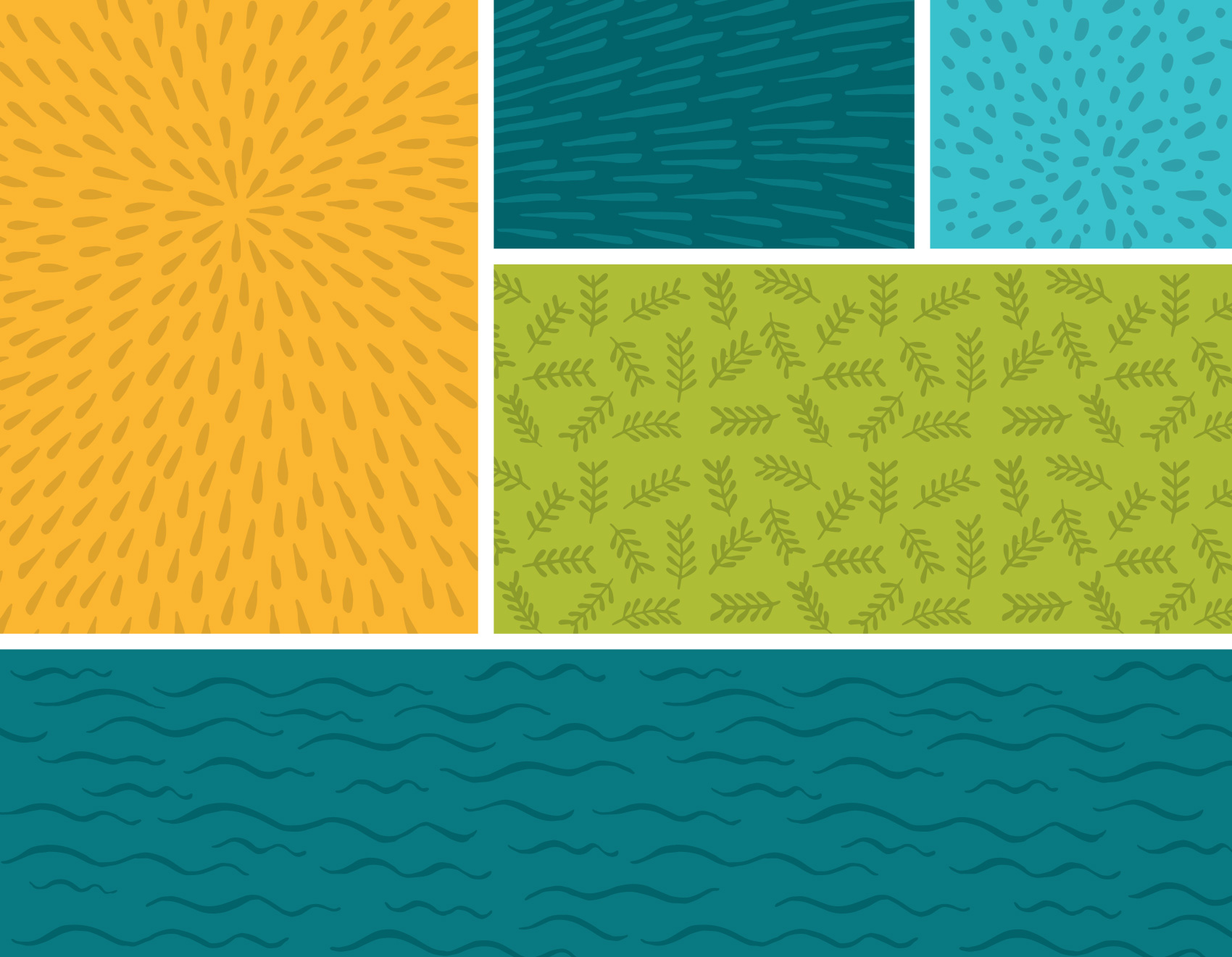 pattern & illustration tests for Umpqua bank: nature based squiggles