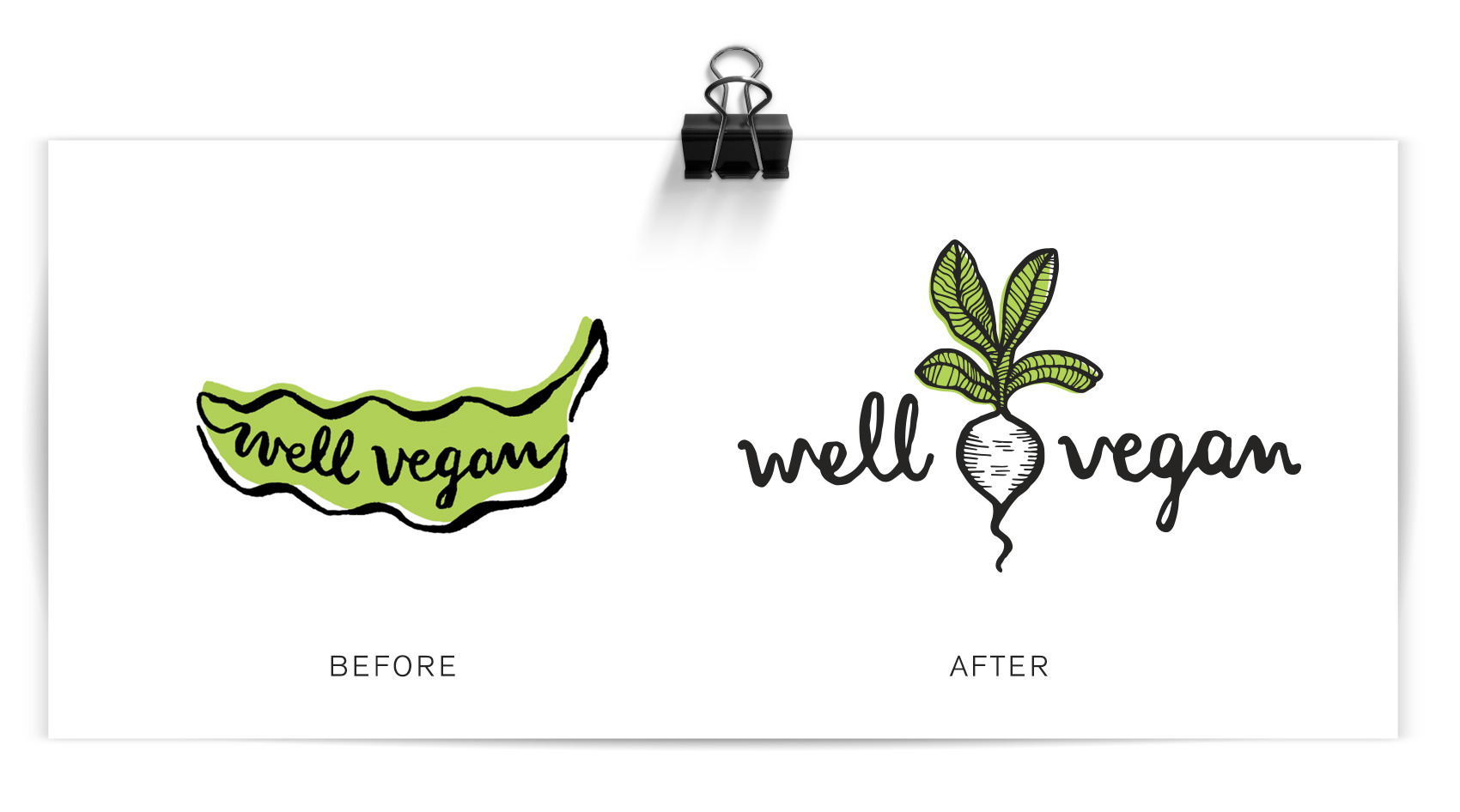 before and after logo for well vegan, from a smiling pea pod to a white radish