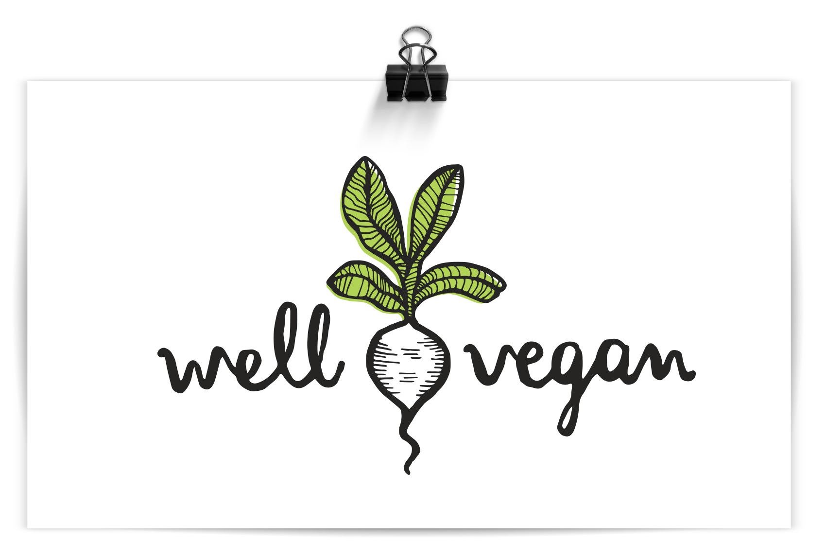 well vegan hand drawn logo in black brush pen with a radish illustration and green color pop
