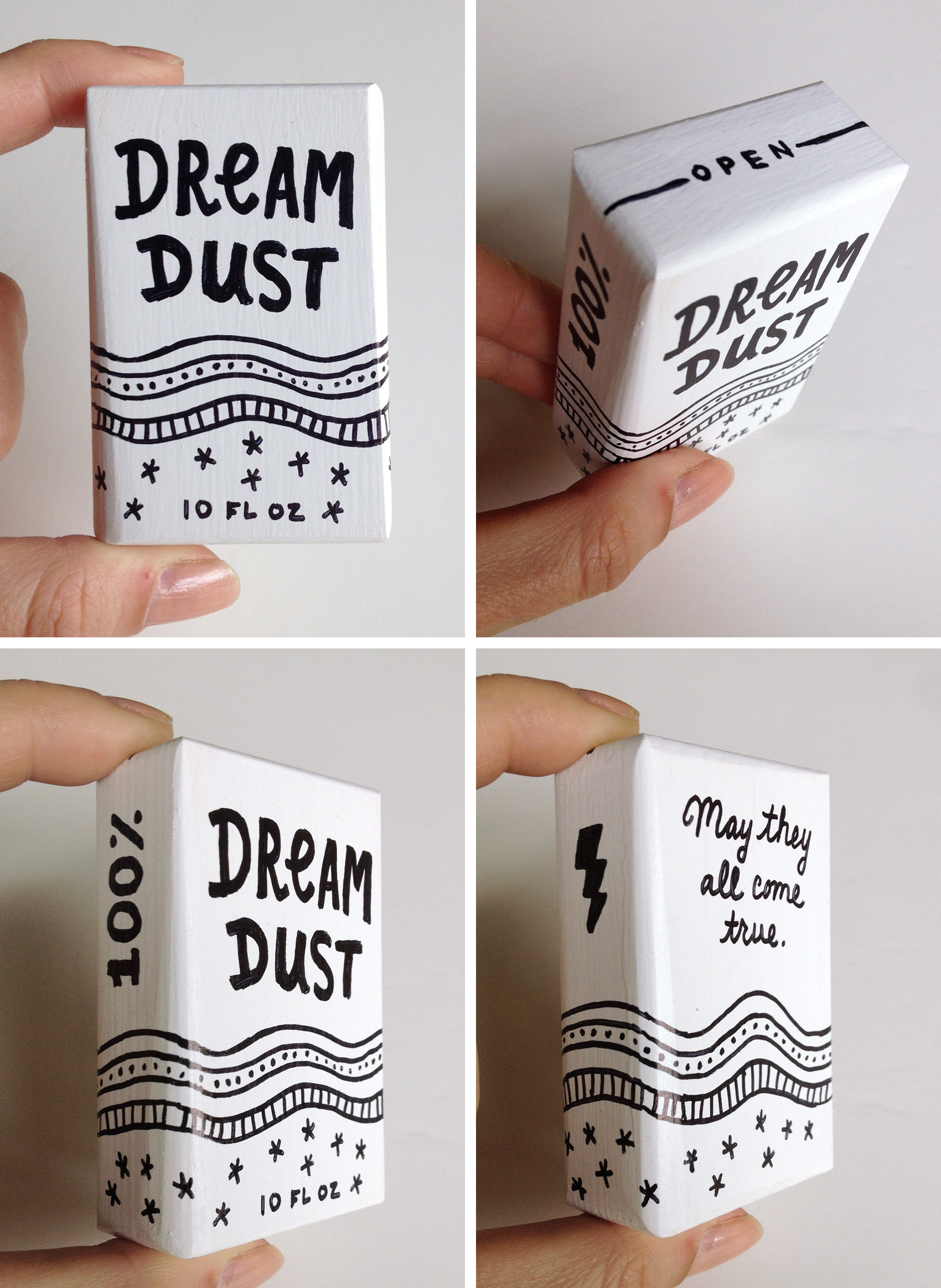 Dream Dust faux packaging. An illustration test on a 3D white wooden box for the Portland Art Museum Monster Drawing Rally 2017.