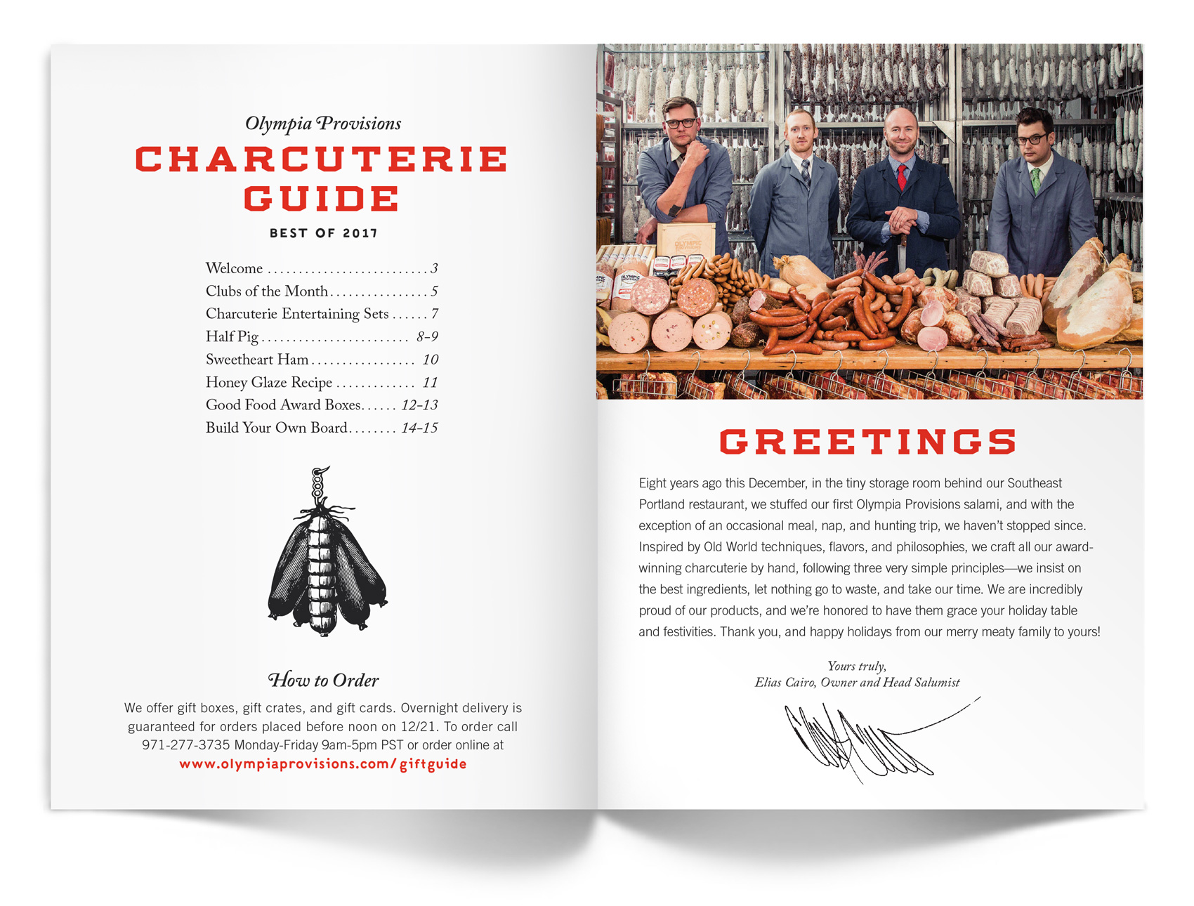 Welcome letter from Eli  for the Olympia Provisions holiday catalog.