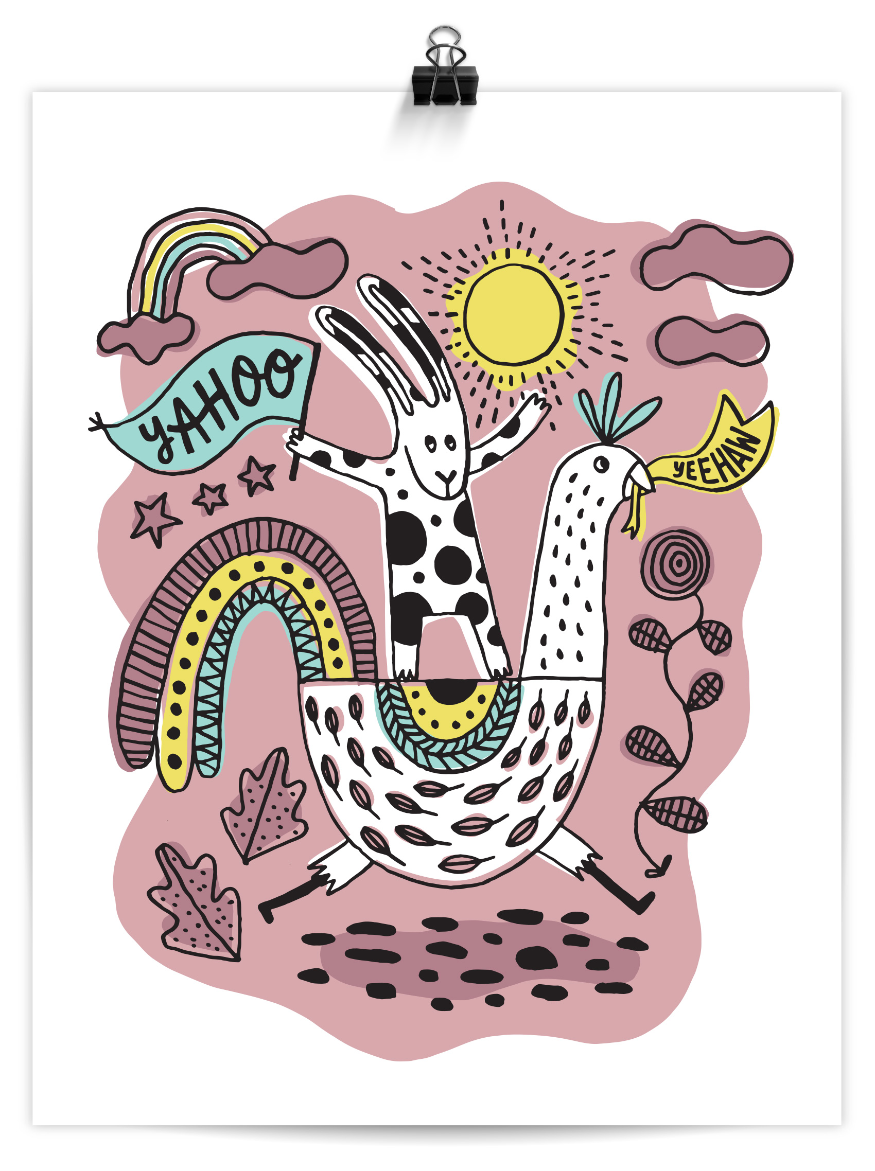 Hand drawn brush illustration of a rabbit riding a chicken, pink skies and clouds, each holding a sign: Yahoo! Yeehaw!
