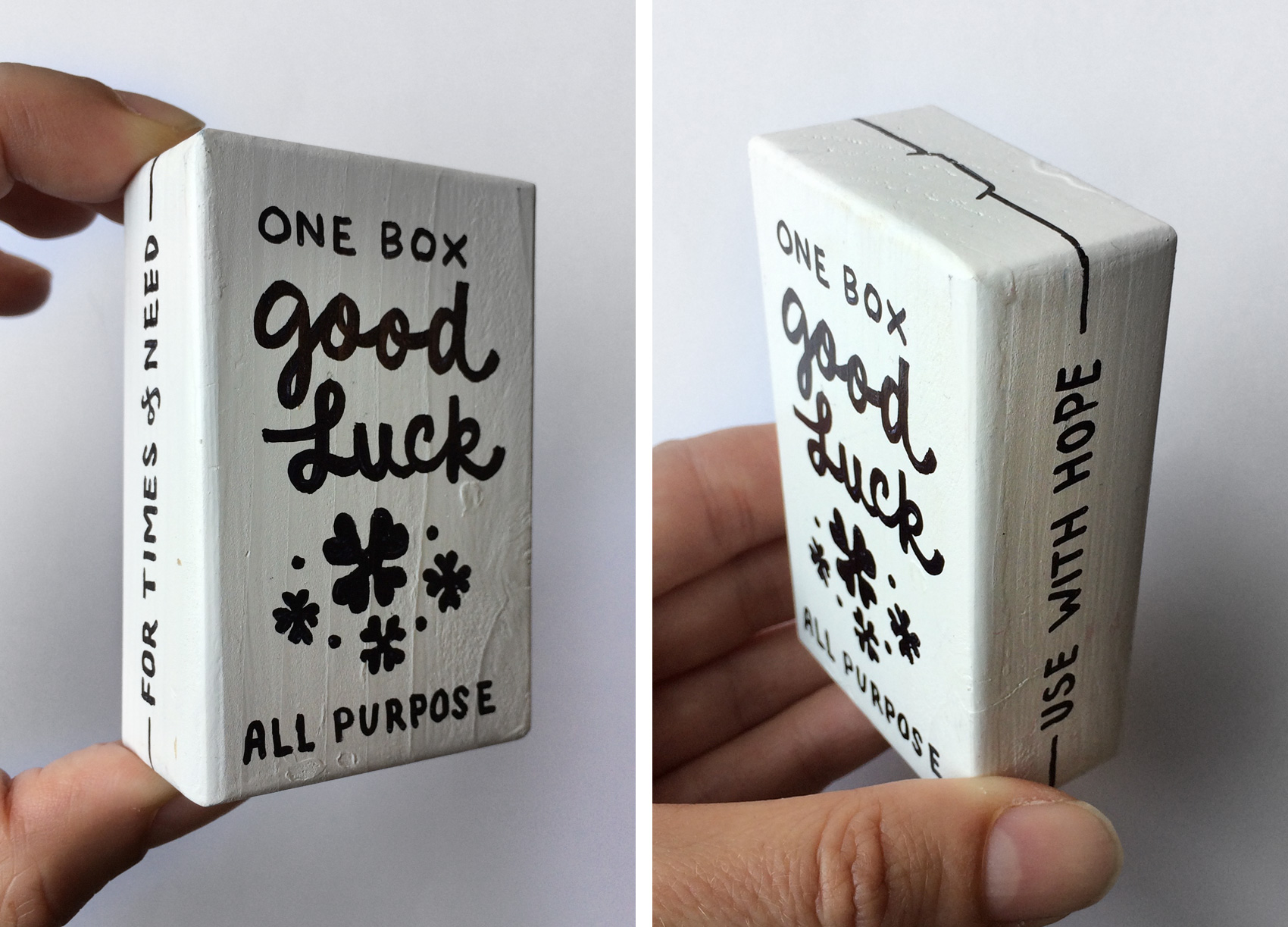 hand lettered wooden box of good luck