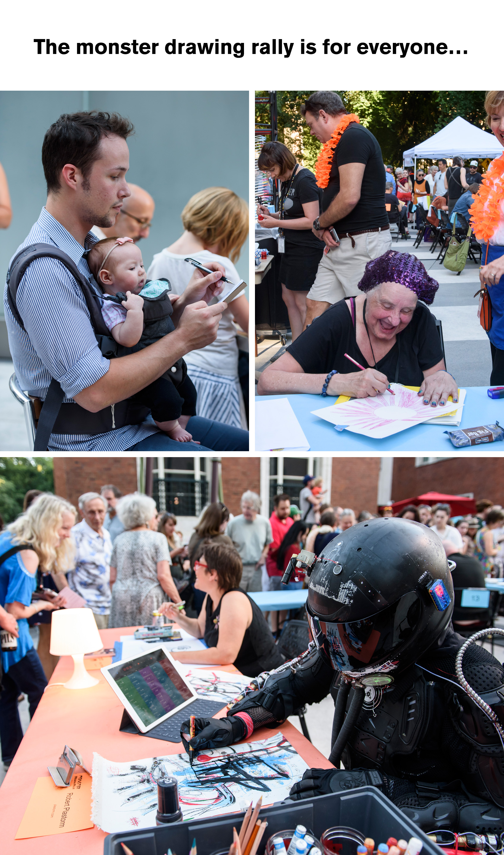 Portland Art Museum's Monster Drawing Rally 2017 - all kinds of people come, young, old, really young, robots.