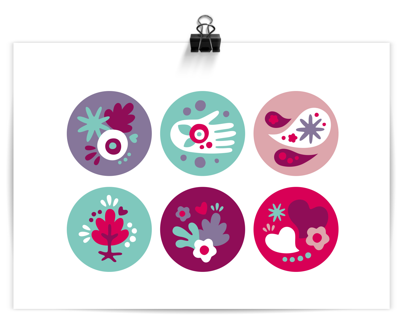 series of six icons with flowers, bursts, hands, speech bubbles etc to portray a soft, female-focused brand look