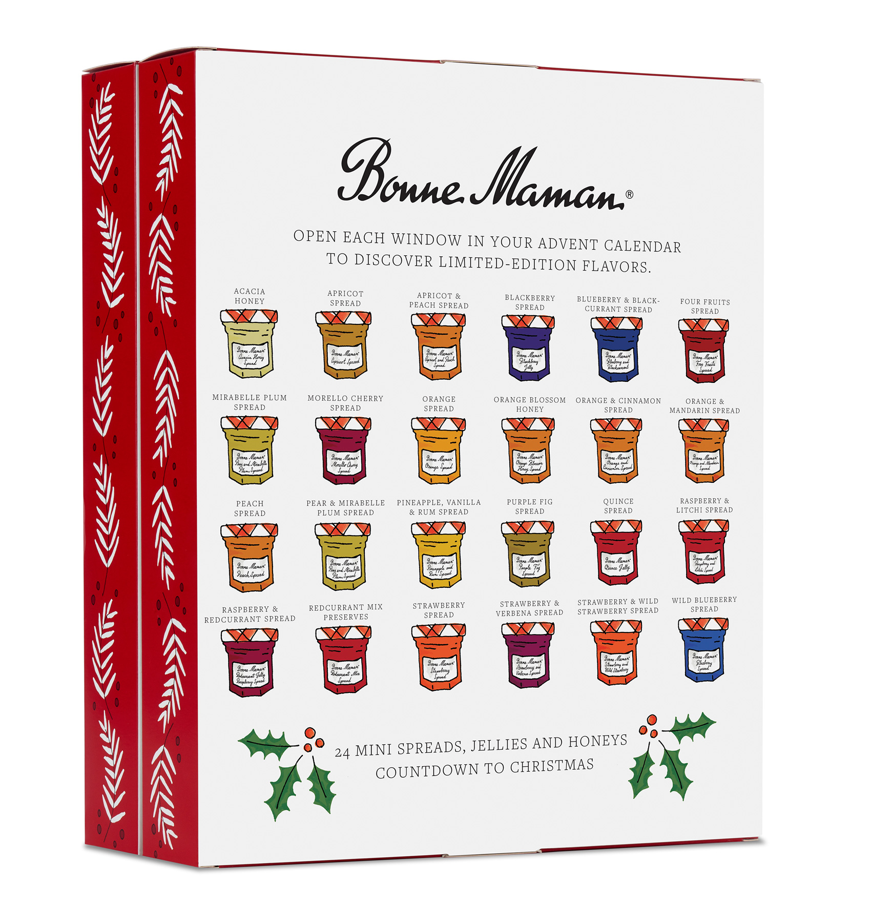 Back of box packaging for the Bonne Maman advent calendar shows all 24 mini jars of jellies, spreads and honey.