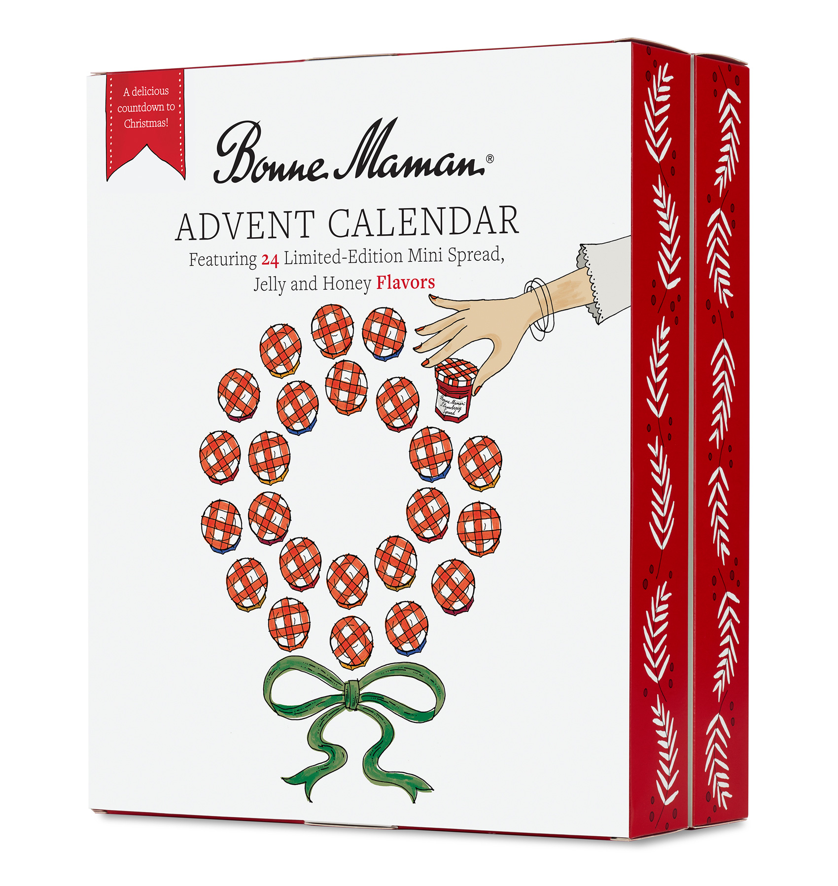 Front of box for the Bonne Maman advent calendar features a wreath of mini-jars of preserves  with the classic red and white checkered lid, one being plucked for enjoyment.