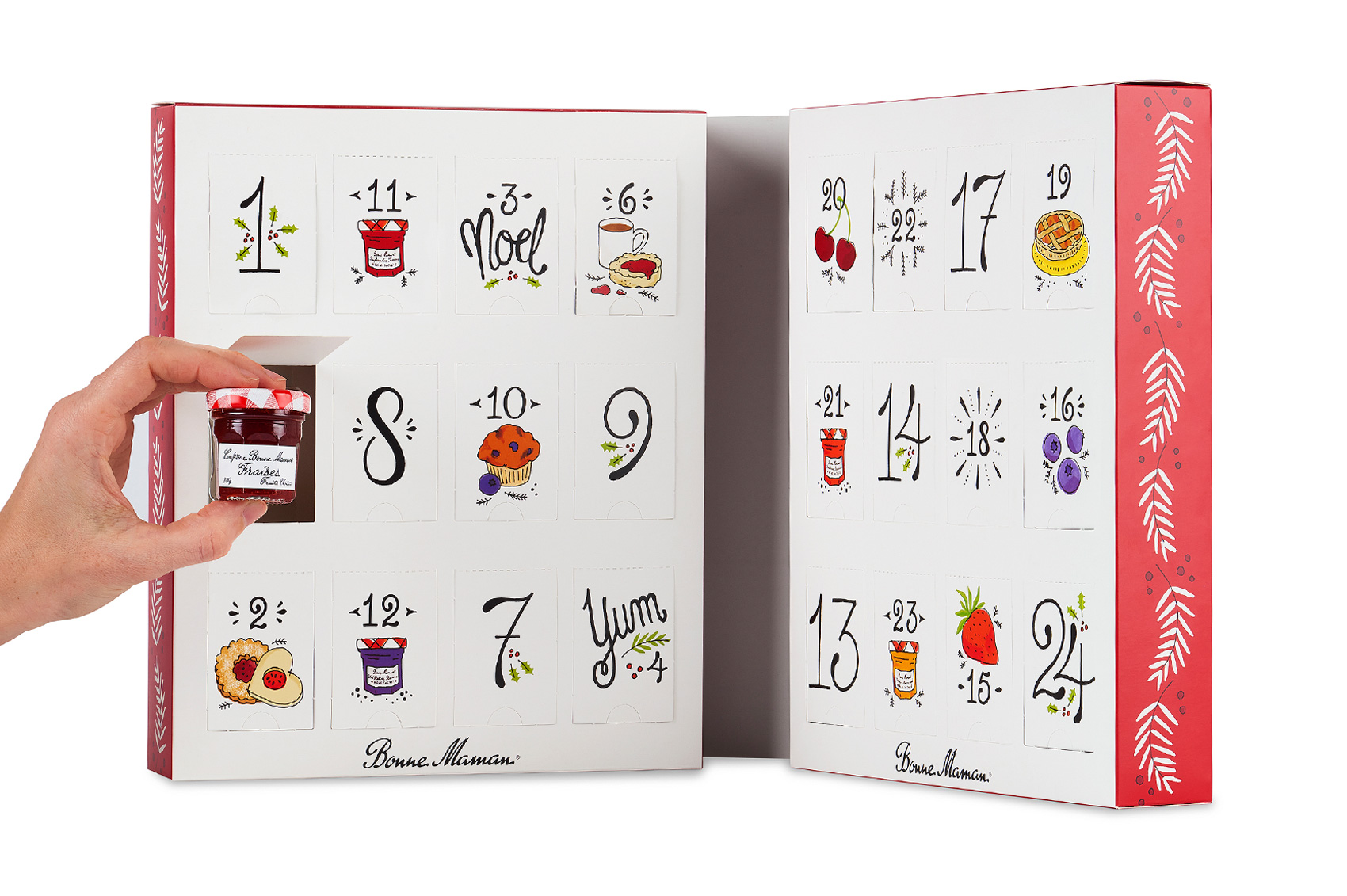 Inside of box for Bonne Maman advent calendar with custom illustration and french-inspired hand lettered numerals, full of holiday cheer - sprigs of holly, bursts and sweet treats.