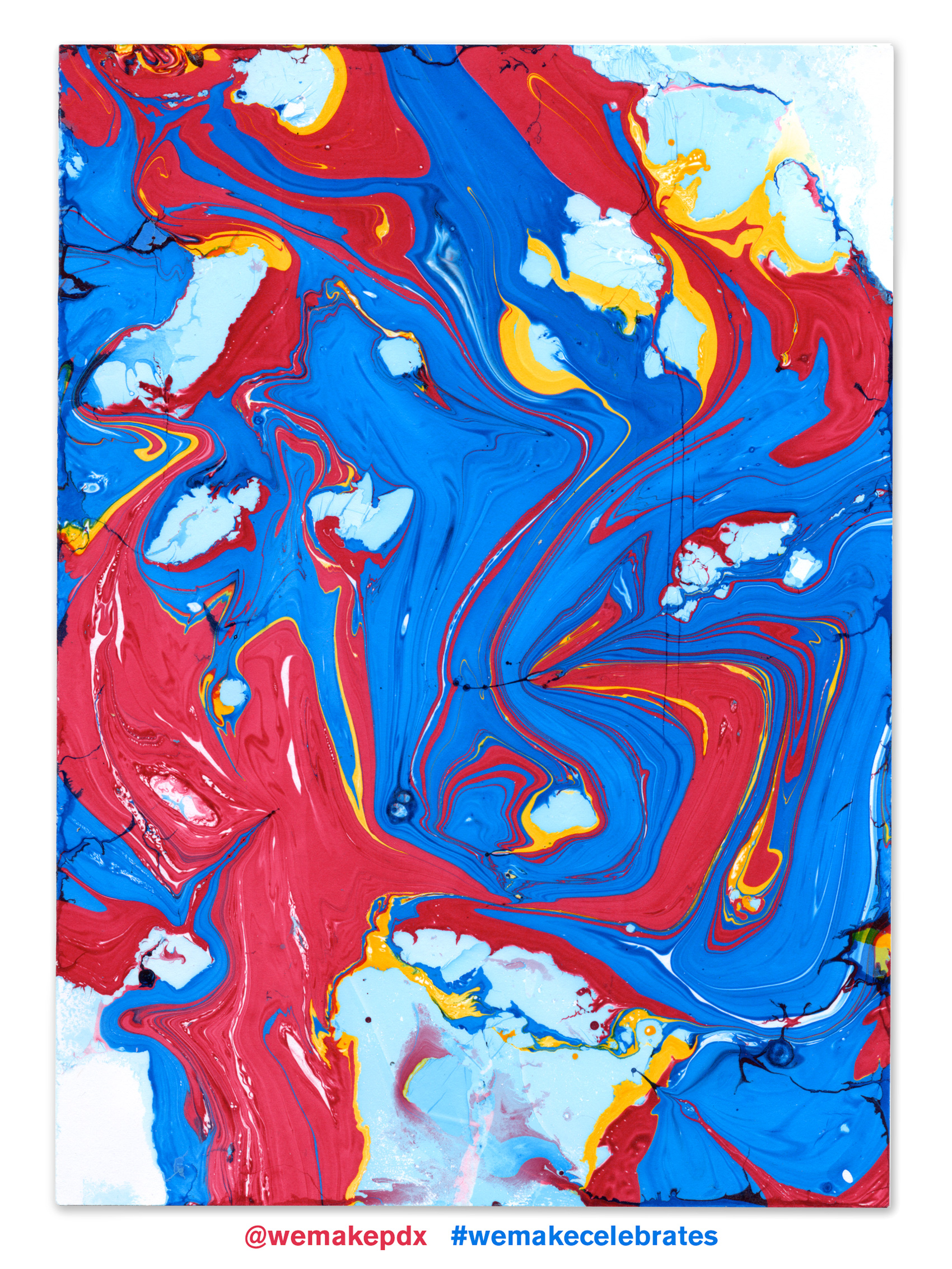 red and blue marbled paper made at the WeMake Conference