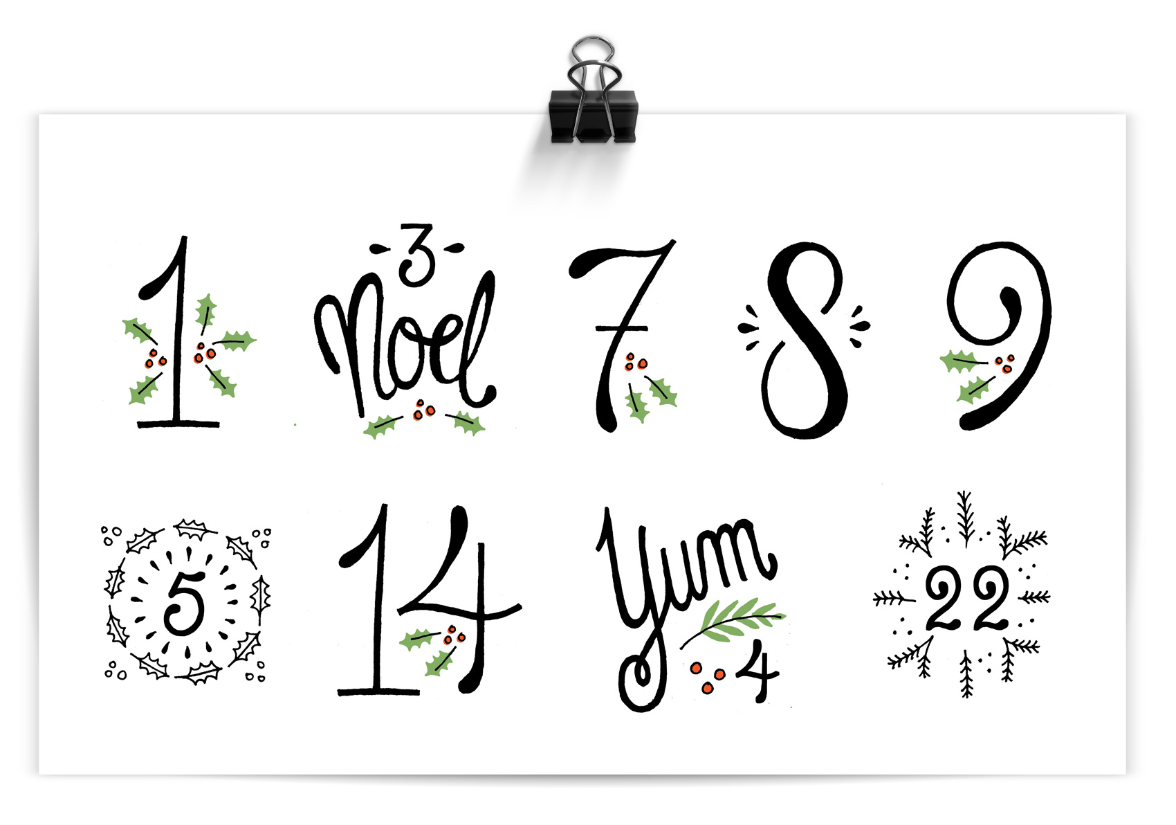 Hand lettered french-inspired numbers and numerals with holiday and Christmas flair.